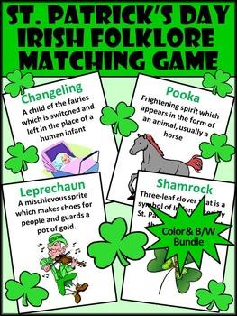 St. Patrick's Day Activities: Irish Folklore Vocabulary Matching Card Game