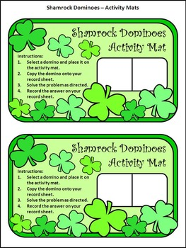 St. Patrick's Day Activities: Shamrock Dominoes St. Patrick's Day Math Game