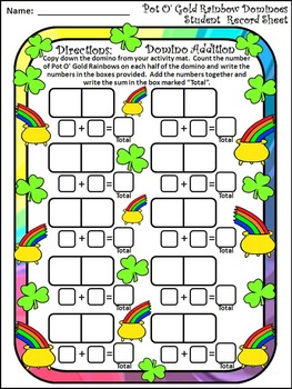 St. Patrick's Day Activities: Pot of Gold Dominoes St. Patrick's Day Math Game