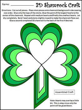 St. Patrick's Day Craft Activities: 3D Shamrock Craft St. Patrick's Day Activity