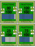 St Patrick's Day Fractions Flash Cards - Math - Grade 4, Grade 5 & Grade 6