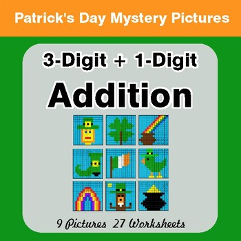 St Patrick's Day: 3-Digit + 1-Digit Addition - Color-By-Number Math Mystery Pictures