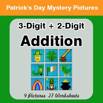St Patrick's Day: 3-Digit + 2-Digit Addition - Color-By-Number Math Mystery Pictures