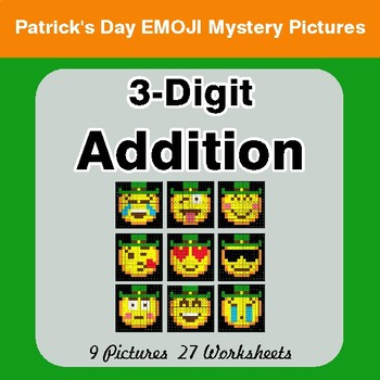 St Patrick's Day: 3-Digit Addition - Color-By-Number Mystery Pictures