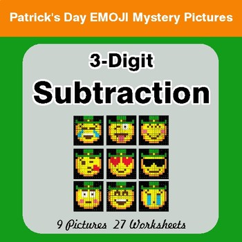 St Patrick's Day: 3-Digit Subtraction - Color-By-Number Mystery Pictures