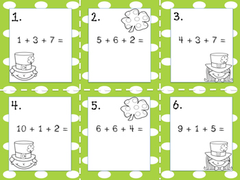St Patrick's Day 3 addends addition Write the Room