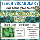 St. Patrick's Day Photo Flash Cards Photo in Front and Word Back