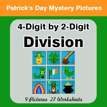 St Patrick's Day: 4-Digit by 2-Digit Division - Color-By-Number Math Mystery Pictures