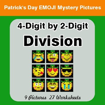 St Patrick's Day: 4-Digit by 2-Digit Division - Color-By-Number Mystery Pictures