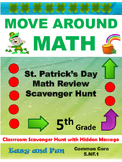 St. Patrick's Day 5th Grade Math Review Scavenger Hunt Common Core