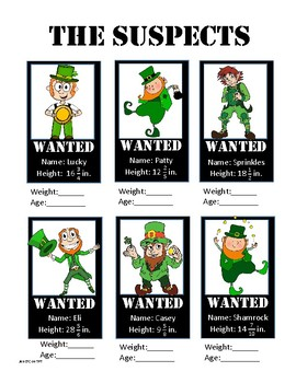 St. Patrick's Day 5th and 6th grade Fraction Challenge: Leprechaun Lineup