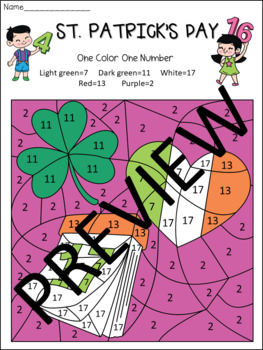 St. Patrick's Day -  6 Mystery  Pictures - Color by Number Fun Activities!!
