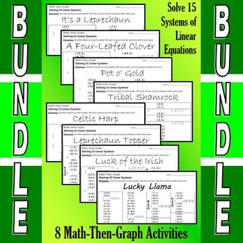 St. Patrick's Day - 8 Math-Then-Graph Activities Bundle - Solve 15 Systems