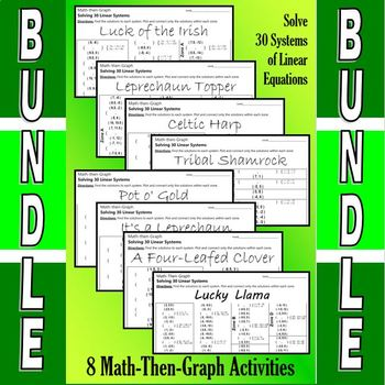 St. Patrick's Day - 7 Math-Then-Graph Activities - Solve 30 Systems