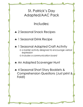 St. Patrick's Day AAC Packet