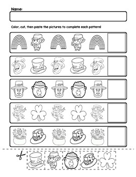 St. Patrick's Day AB Pattern Worksheets | 5 Pages