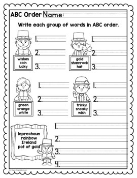 St. Patrick's Day ABC Order Center/Station with differentiation options