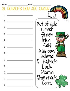 St. Patrick's Day ABC Order Freebie