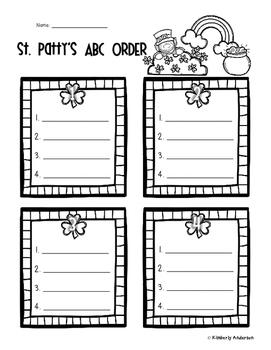St. Patrick's Day ABC Order Practice