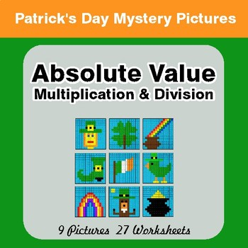 St Patrick's Day: Absolute Value: Multiplication & Division -  Mystery Pictures