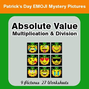 St Patrick's Day: Absolute Value: Multiplication & Division -  Math Mystery Pictures
