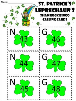 St. Patrick's Day Math Activities: St. Patrick's Day Bingo Game Activity