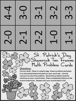 St. Patrick's Day Ten Frames: Shamrock Ten Frames Math Activity