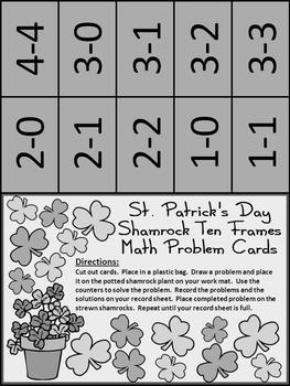 St. Patrick's Day Ten Frames: Shamrock Ten Frames Math Activity