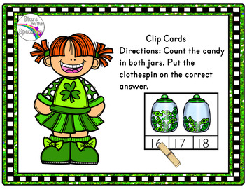 St. Patrick's Day Activities Counting Clip Cards Candy
