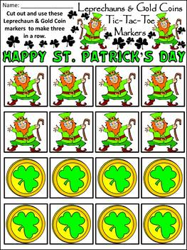St Patricks Day Activities Leprechauns Gold Coins Tic Tac Toe Game Bundle