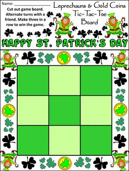 St. Patrick's Day Activities: Leprechauns & Gold Coins Tic-Tac-Toe Game Bundle