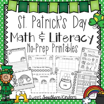 St. Patrick's Day Activities Math and Literacy No-Prep Printables for PK-K
