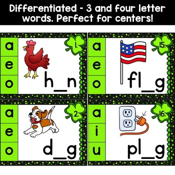 St. Patrick's Day Activities - Missing Medial Vowel Task Cards