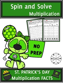 St. Patrick's Day Activities Multiplication Spin and Solve Math Centers