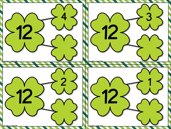 St Patrick's Day Activities- Number Bonds to 20 Missing Parts Math Center