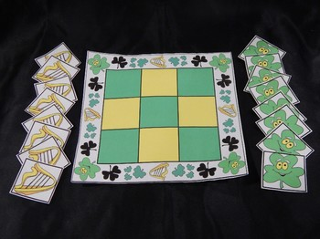 St. Patrick's Day Activities: Shamrocks & Celtic Harps Tic-Tac-Toe Game Bundle