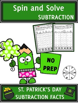 St. Patrick's Day Activities Subtraction Spin and Solve Math Centers