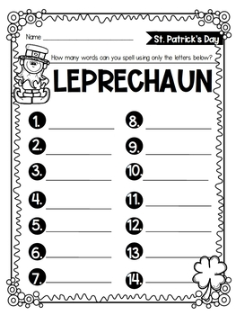 St. Patrick's Day Activities (Word Search + Word Work)