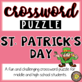 St. Patrick's Day ESL/ELL Activity Crossword Puzzle