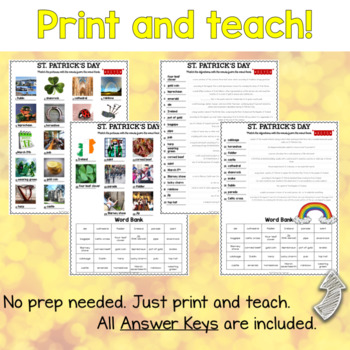 St. Patrick's Day ESL/ELL Activity Picture and Definition Matching Puzzles