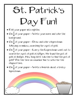 St. Patrick's Day Activity - Reviews Fractions, Elapsed Time, and Limericks