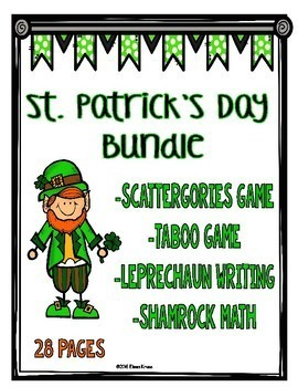 St. Patrick's Day Activity Bundle: Games, Math, and Writing Activities