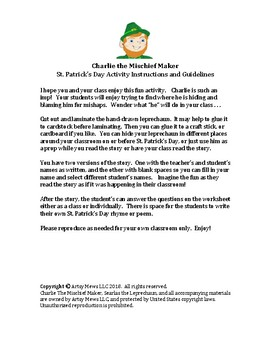St. Patrick's Day Activity:  Charlie the Mischief Maker Leprechaun