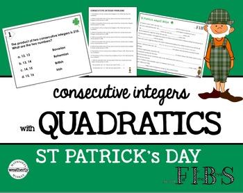 St Patrick's Day Activity - Consecutive Integers with Quadratics