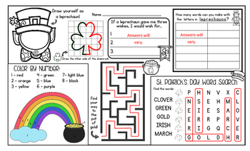 St. Patrick's Day Activity Mat - A Page FULL Of St. Patrick's Day Activities!