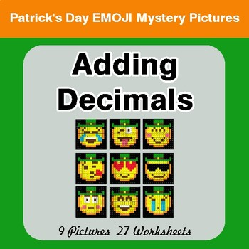 St Patrick's Day: Adding Decimals - Color-By-Number Mystery Pictures