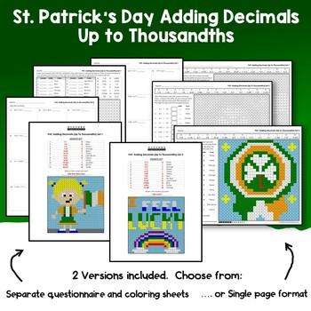 St. Patrick's Day Adding Decimals Up to Thousandths