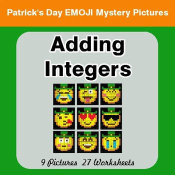 St Patrick's Day: Adding Integers - Color-By-Number Math Mystery Pictures