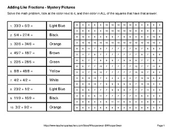 St. Patrick's Day: Adding Like Fractions - Color-By-Number Mystery Pictures