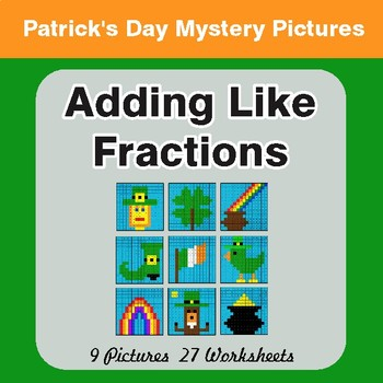 St. Patrick's Day: Adding Like Fractions - Color-By-Number Math Mystery Pictures
